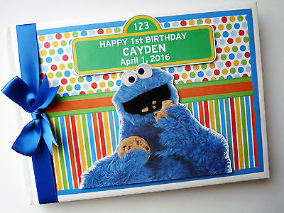 Personalised Sesame Street Cookie Monster First/1St Birthday Guest Book