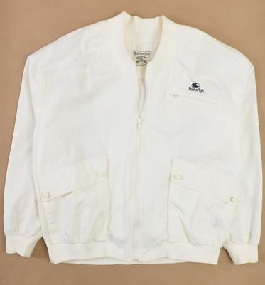 Burberrys Mens Light Weight Bomber Jacket Off White Large