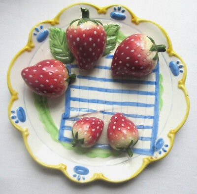 RARE old French Majolica plate, 5 large strawberries on a blue striped towel