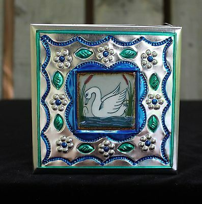 Lg Tin Box & Ceramic Tile of White Swan by Tirso Cuevas, Mexican Folk Art Oaxaca