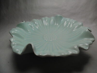 California Pottery Candy Dish Light Teal Flower S40