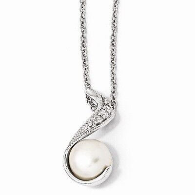 Cheryl M Sterling Silver Rho-plated CZ White Cultured Pearl Swirl 18in Necklace