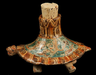 Ceramic Turtle Vessel Museum Quality Handmade/Painted Mayan Reproduction Mexico