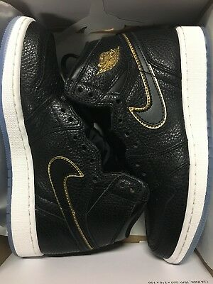 NIKE AIR JORDAN RETRO 1 HI OG LA BLACK METALLIC GOLD 575441-031 GS Grade School