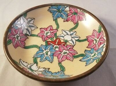 Vintage 'Japanese Porcelain Ware' Bowl Hand Painted in Hong Kong Brass Bottom