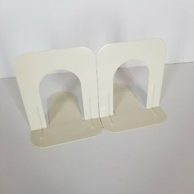 """Metal Library Bookends 1 pair (2) White 5""""T x 4.75""""W x 5.5""""L Very Sturdy"""