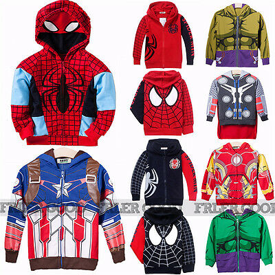 Kids Boys Clothes Spiderman Hoodie Hooded Jacket Sweatshirt Costume Coat Outwear