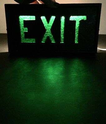 Vintage Art Deco Green Glass Lighted Exit Sign in Cast Iron