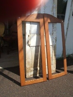 Pair Oak Door Frames Vintage Antique Early Cabinet Cupboard Glass or Mirror