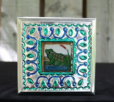 Large Tin Box & Ceramic Tile of a Frog by Tirso Cuevas Mexican Folk Art Oaxaca