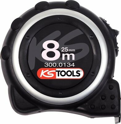 KS Tools 300.0134 Tape measure with locking device and belt clip, black grey, 8m