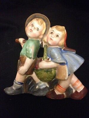 Vintage  Porcelain Wall Pocket  Boy & Girl Ceramic Old Japanese Figurine Kids
