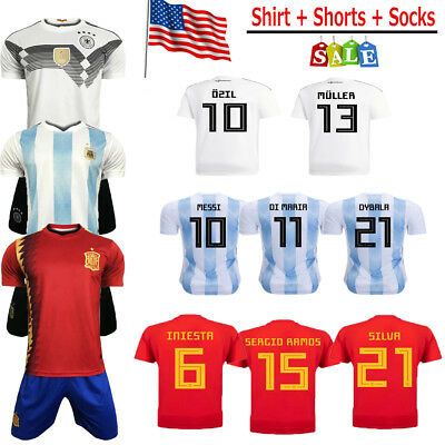2018 Newest Football Soccer Kit Shirt for 3-14Y Kids Authorized Kit+Socks