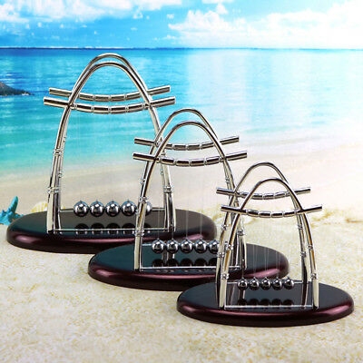 Arc-shaped Newton's Cradle Balance Ball Science Puzzle Fun Desk Toys Gift Silver