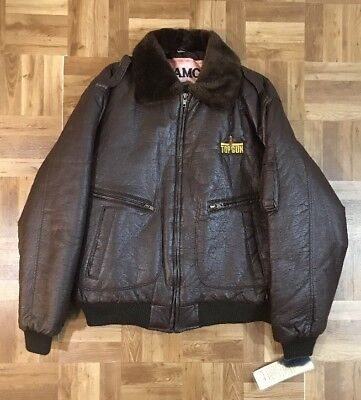TOP GUN B-3 Jacket Coat Vtg SHEARLING Avirex Type Air Force Leather Men's XL