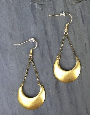 Anthropologie Brass Crescent Moon Antique Bronze Chain Gold Plated hook Earrings
