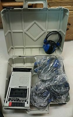 Califone Cassette Recorder Player 3432AV w/ 7 sets of headphones Works Perfect