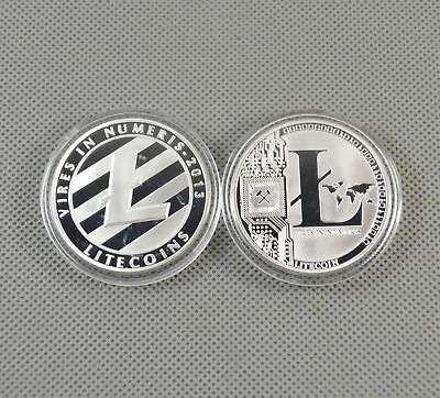 LITECOIN Silver Plated Commemorative Collectible in Plastic Acrylic Case USA