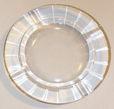 Vintage Cut Crystal Glass Ashtray - 20 Bevel Cut Sides Round Large 3lbs