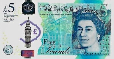 2015 Great Britain Polymer 5 Pound note Bank of England