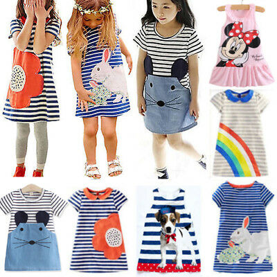Baby Toddler Girls Striped Dress Kids Summer Casual Tunic T-shirts Sundress 0-7T