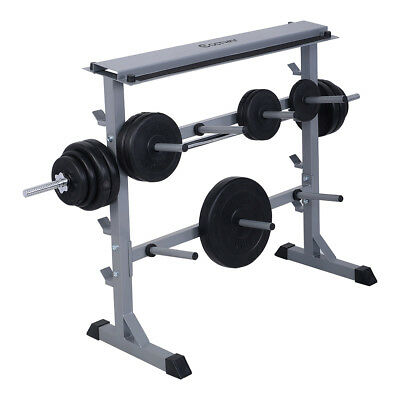 350kg Gym Weight Plate & Bar Rack Storage Fitness Training Barbell Holder Stand