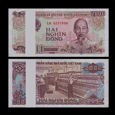 One Bundle Of 100pcs Vietnam Viet Nam 2000 Dong 1988 P 107