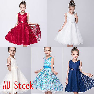 Girls Kids Party Flower Pageant Prom Christening Dress Formal Wedding Bridesmaid