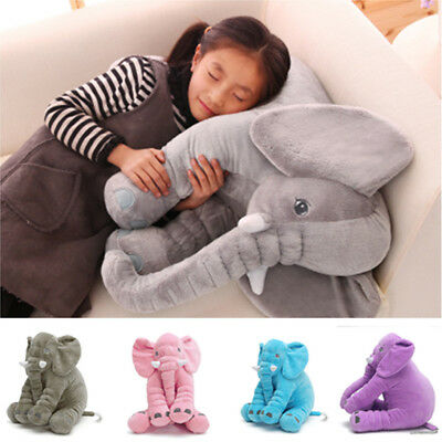 Long Nose Elephant Doll Lovely Sleep Pillow Baby Kids Soft Plush Cushion Gift US