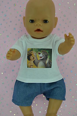 """Play n Wear Doll Clothes To Fit 17"""" Baby Born DENIM SHORTS~T-SHIRT"""