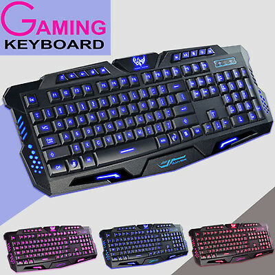 AU LED Backlight USB Wired Gaming Keyboard Illuminated Ergonomic PC Laptop Gamer