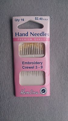 Embroidery Crewel hand needles with gold eyes in packs of 16