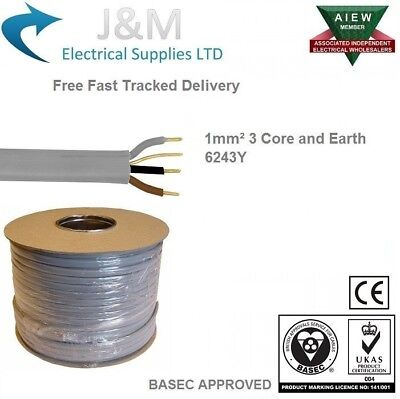 1.0 mm² Twin /& Earth 6242Y 100M metres cable new colours BASEC approved