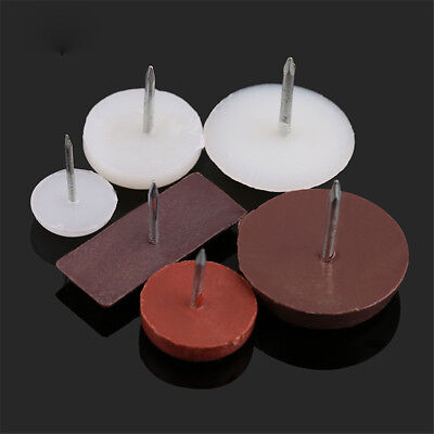 White/brown Plastic Base Floor Protector Furniture Table Chair Leg Nail Pad