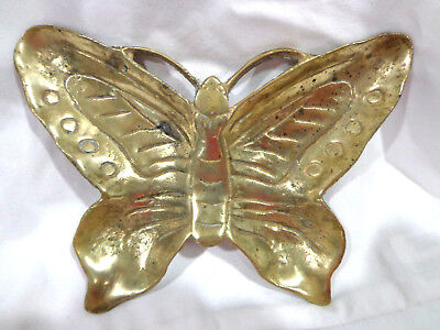 vintage mid century solid brass sand cast butterfly trinket dish