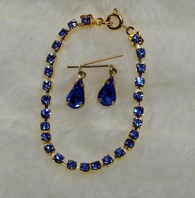 "Sapphire Blue Rhinestone Jewelry Necklace Earring for Cissy 18-22"" Revlon Doll"