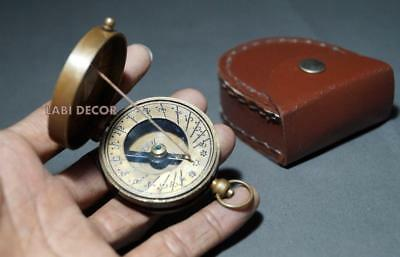 Antique Brass Compass Sundial Thread W Leathers Case Lord Kelvin Engrave Compass