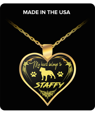 Staffy Dog, Heart Pendant Necklace