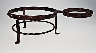 Wrought Cast Iron Maroon Chip Dip Bowl Holder Server Rivets Decor Gothic Rustic