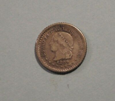 1884 5 Centavos Colombia Silver World Coin KM174a.1 Bogota five cent Low Mintage