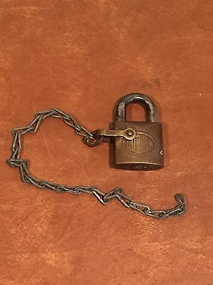 Antique Vintage Padlock with Chain Corbin Cabinet Lock Co.
