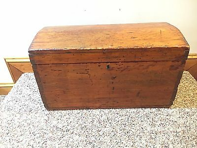 Antique Dovetailed Dome Top Wooden Chest Trunk Box