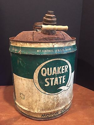 Antique Vintage 5 Gallon Oil Can Advertising Quaker State Motor Oil