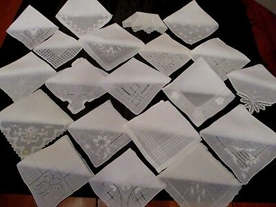 Lot of 20 Vintage White Wedding Embroidered, applique, drawn work  hankies