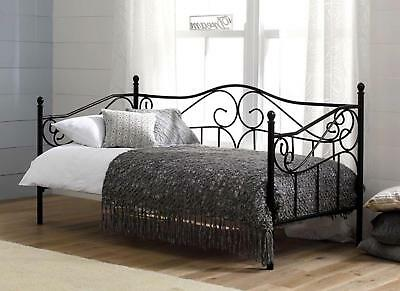 Amiee Day 3ft Single Bed Black with Sprung Wooden Slats Antique French design