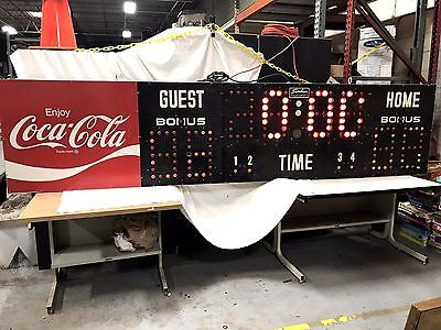Vtg HUGE 11 FT COCA-COLA Electric Scoreboard Basketball Gym Sign Electro-Mech