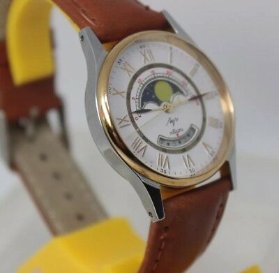 NEW USSR Vintage watch LUCH real moon phase calendar Old Stock Servised RARE