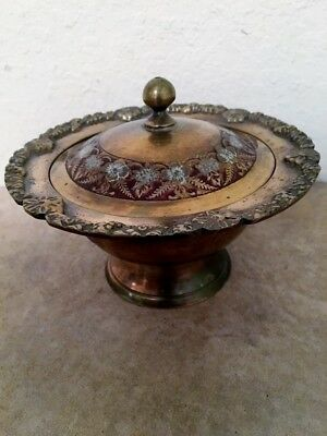 """Vintage Ornate Round Brass Container with Lid 5"""" x 3 ¾"""" Trinket Box"""
