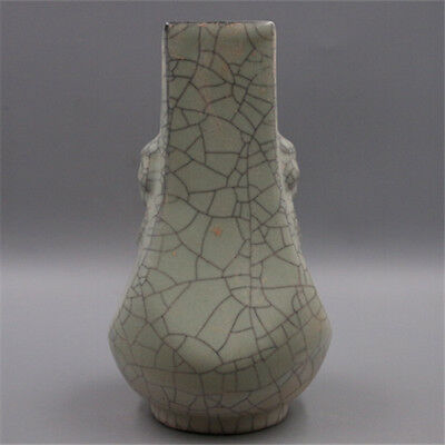 Antique Chinese Guan ware Crackle Glaze Porcelain Vase two ears