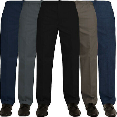 Kruze Mens Rugby Trousers Elasticated Waist Casual Smart Work Pants W32''- 60''